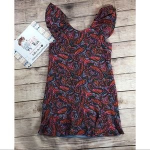 J Crew Paisley Silk Ruffles Shift Dress